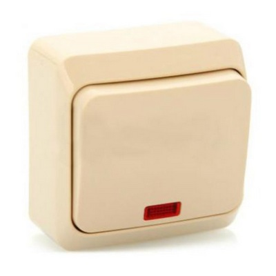 Выключатель Schneider Electric Этюд кнопочный с подсветкой накладной (кремовый)