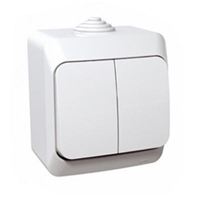 Выключатель двухклавишный Schneider Electric Этюд IP44 накладной (белый)
