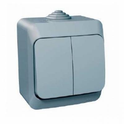 Выключатель двухклавишный Schneider Electric Этюд IP44 накладной (серый)