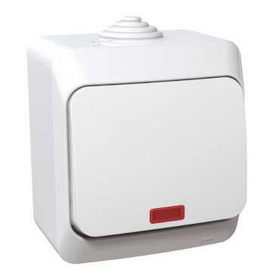 Выключатель одноклавишный Schneider Electric Этюд с подсветкой IP44 накладной (белый)