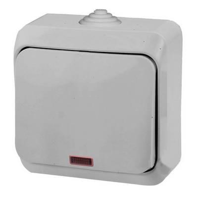 Выключатель одноклавишный Schneider Electric Этюд с подсветкой IP44 накладной (серый)