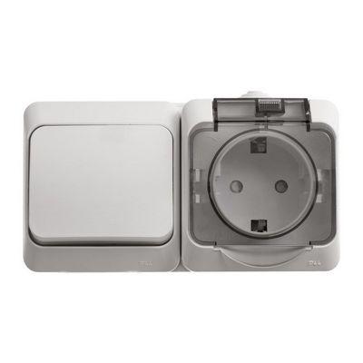 Выключатель 1х-клавишный+Розетка блок Schneider Electric Этюд IP44 накладной с заземлением со шторками с крышкой (белый)
