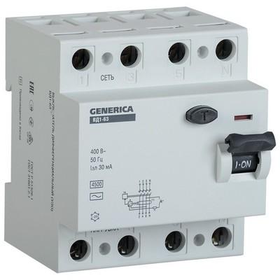 Выключатель дифференциального тока УЗО ИЭК ВД1-63 4Р 16А 30мА GENERICA