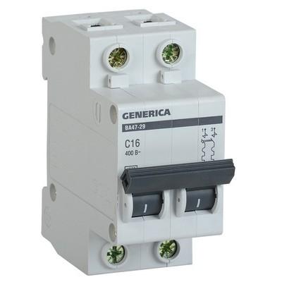 Автоматический выключатель ИЭК ВА47-29 2-полюсный, 63А, 4,5кА, характеристика С, GENERICA