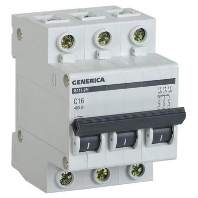 Автоматический выключатель ИЭК ВА47-29 3-полюсный, 10А, 4,5кА, характеристика С, GENERICA