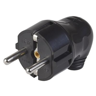 Вилка кабельная разборная угловая с з/к 16А черная ВПу11-02-Ст