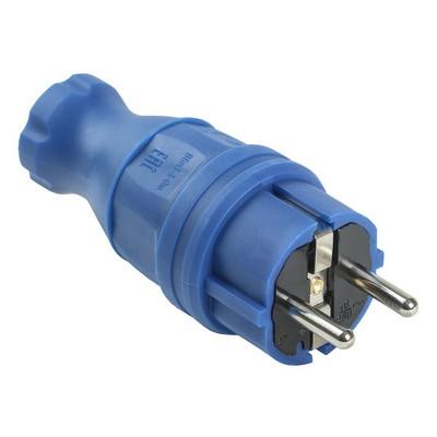 Вилка кабельная ИЭК Омега, каучуковая, прямая IP44, синяя