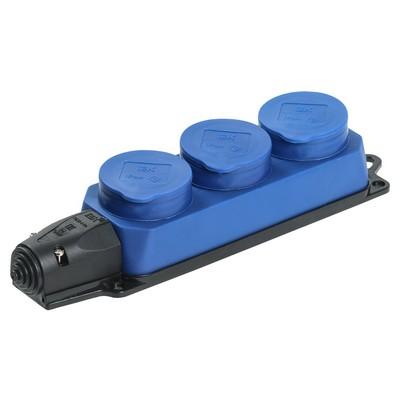 Розетка каучуковая ИЭК Омега, силовая, трехпостовая с защитными крышками IP44, синия