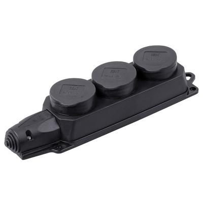 Розетка силовая ИЭК Омега ( колодка ) каучуковая, трехпостовая с защитными крышками IP44