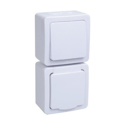 Блок выключатель ИЭК ГЕРМЕС PLUS 1-клавишный+ розетка 1-месная с з/к накладной IP54 (клавиша белая/крышка белая) БВб-22-31-ГПБб