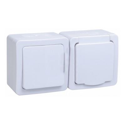 Блок выключатель ИЭК ГЕРМЕС PLUS 1-клавишный+ розетка 1-месная с з/к накладной IP54 (клавиша белая/крышка белая) БГб-22-31-ГПБб