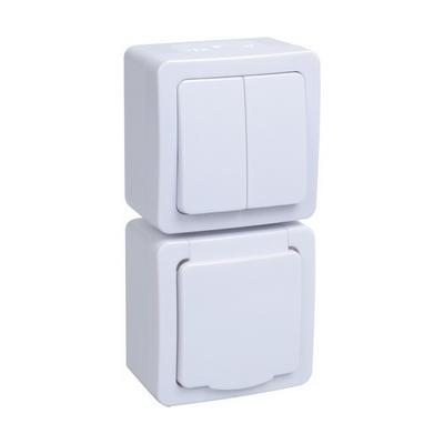 Блок выключатель ИЭК ГЕРМЕС PLUS 2-клавишный+ розетка 1-месная с з/к накладной IP54 (клавиша белая/крышка белая) БВб-22-32-ГПБб