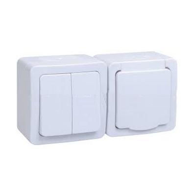 Блок выключатель ИЭК ГЕРМЕС PLUS 2-клавишный+ розетка 1-месная с з/к накладной IP54 (клавиша белая/крышка белая) БГб-22-32-ГПБб