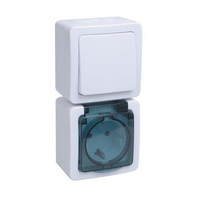 Блок выключатель ИЭК ГЕРМЕС PLUS 1-клавишный+ розетка 1-месная с з/к накладной IP54 (клавиша белая/крышка дымчатая) БВб-22-31-ГПБд