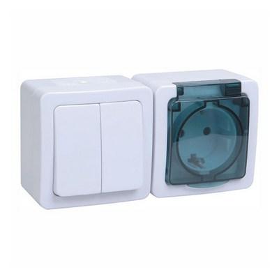 Блок выключатель ИЭК ГЕРМЕС PLUS 2-клавишный+ розетка 1-месная с з/к накладной IP54 (клавиша белая/крышка дымчатая) БГб-22-32-ГПБд