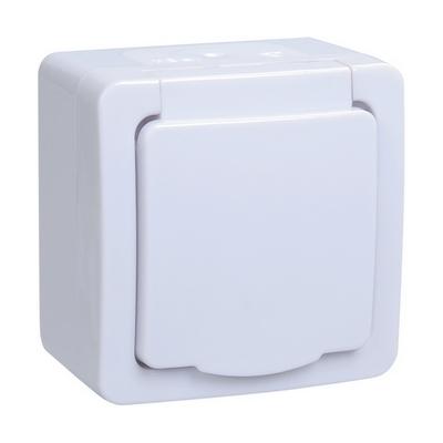 Розетка ИЭК ГЕРМЕС PLUS 1-постовая накладная с з/к влагозащищенная IP54 (цвет крышки: белый) РСб20-3-ГПБб