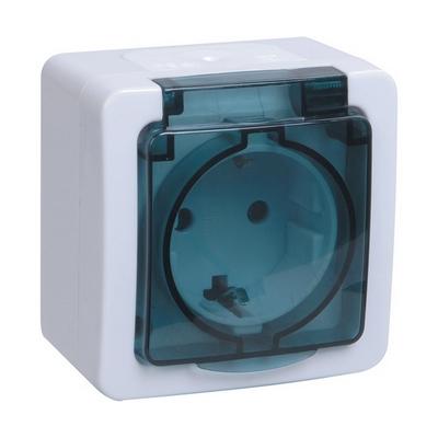 Розетка ИЭК ГЕРМЕС PLUS 1-постовая накладная с з/к влагозащищенная IP54 (цвет крышки: прозрачный) РСб20-3-ГПБд