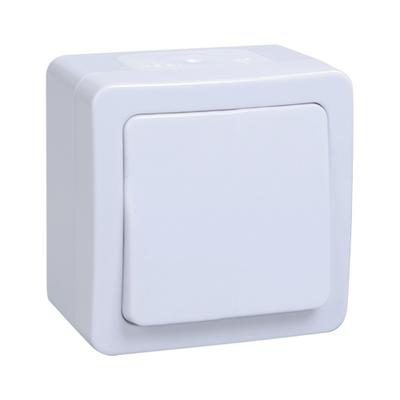 Выключатель ИЭК ГЕРМЕС PLUS 1-клавишный накладной IP54 (белый) ВС20-1-0-ГПБ