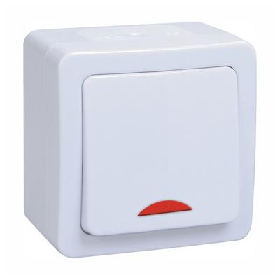 Выключатель ИЭК ГЕРМЕС PLUS 1-клавишный с индикацией накладной IP54 (белый) ВС20-1-1-ГПБ