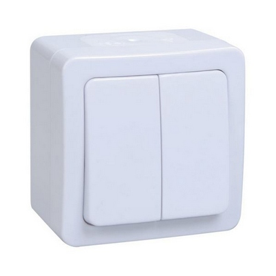 Выключатель ИЭК ГЕРМЕС PLUS 2-клавишный накладной IP54 (белый) ВС20-2-0-ГПБ