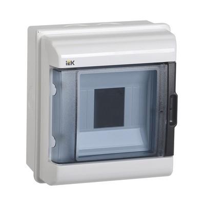 Бокс ИЭК КМПн, 5-модулей, IP55, пластиковый, навесной, прозрачная дверь