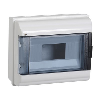 Бокс ИЭК КМПн, 9-модулей, IP55, пластиковый, навесной, прозрачная дверь