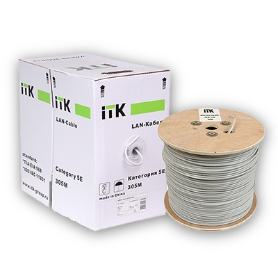 Кабель витая пара ITK ШПД U/UTP категория-5E, 4х2х0,48мм solid, PVC, 305м, серый