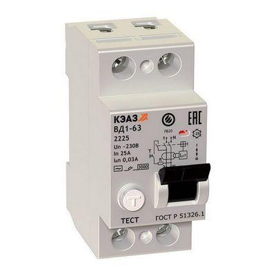 Выключатель дифференциального тока ВДТ УЗО КЭАЗ ВД1-63-2225-АС-УХЛ4 (2P, 25, 30mA)