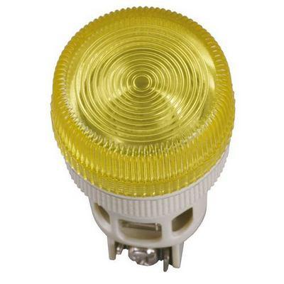 Лампа индикаторная ИЭК, ENR-22 сигнальная, d22мм, желтый неон/230В цилиндр