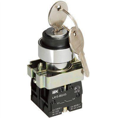 Переключатель ИЭК, LAY5-BG45 на 2-положения с ключом без фиксации