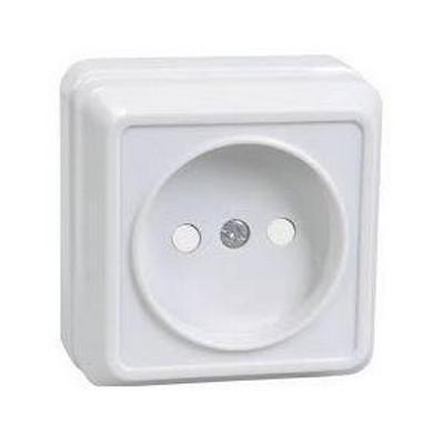 Розетка ИЭК ОКТАВА, 1-постовая, без з/к, 10А, открытой установки (белый)