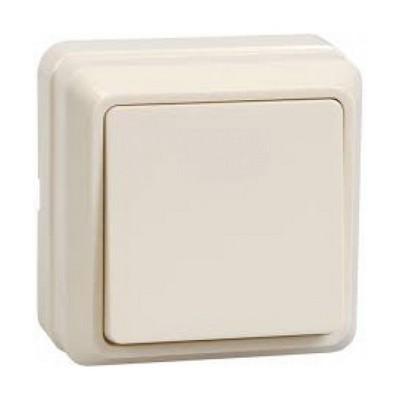 Выключатель ИЭК ОКТАВА, 1-клавишный 10А, открытой установки (кремовый)