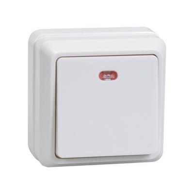 Выключатель ИЭК ОКТАВА, 1-клавишный с индикацией 10А, открытой установки (белый)