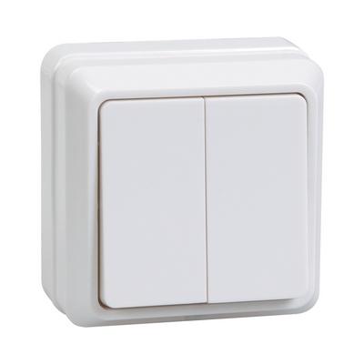 Выключатель ИЭК ОКТАВА, 2-клавишный 10А, открытой установки (белый)