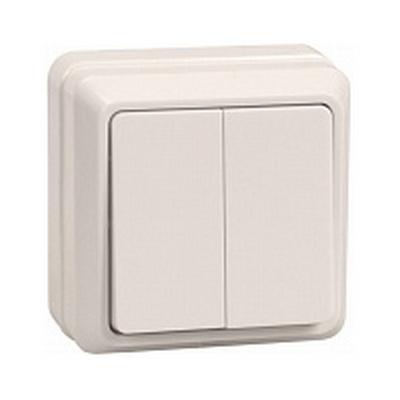 Выключатель ИЭК ОКТАВА, 2-клавишный 10А, открытой установки (кремовый)