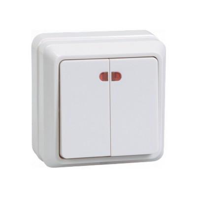 Выключатель ИЭК ОКТАВА, 2-клавишный с индикацией 10А, (белый)