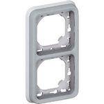 Суппорт с рамкой для скрытого монтажа механизмов Legrand Plexo серый 2-поста вертикальная установка