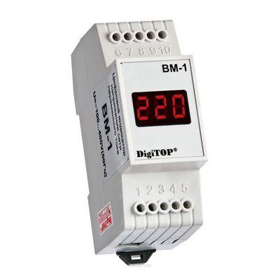 Вольтметр цифровой DigiTOP Вм-1, 40B-400B, однофазный, на Дин-рейку
