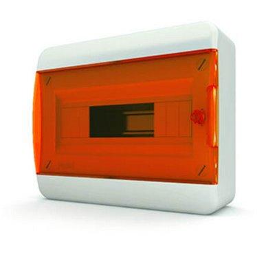 Щит навесной Tekfor 8 модулей IP41, прозрачная оранжевая дверца серии В