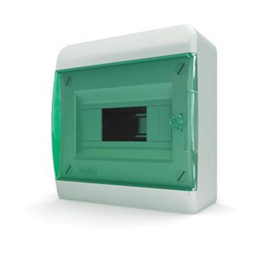 Щит навесной Tekfor 8 модулей IP41 прозрачная зеленая дверца серия В