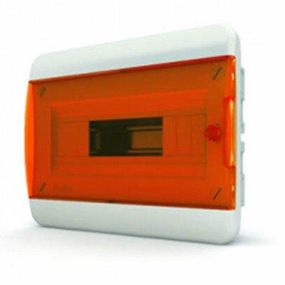 Щит встраиваемый Tekfor 8 модулей IP41, прозрачная оранжевая дверца серии В