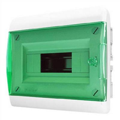 Щит встраиваемый Tekfor 8 модулей IP41, прозрачная зеленая дверца серии В