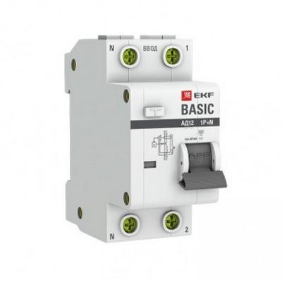 Дифференциальный автомат EKF Basic АД-12 1P+N 10А 30мА тип АС х-ка C, 4,5кА