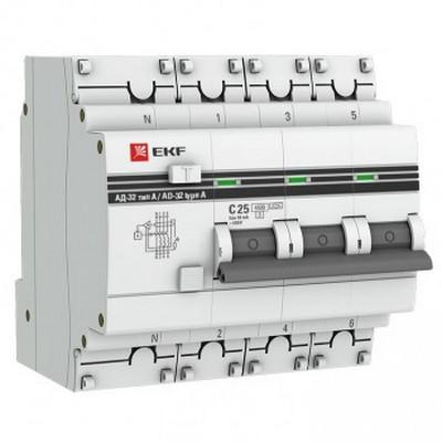 Дифференциальный автомат EKF PROxima АД-32 3P+N 25А 30мА (хар. C, AC, электронный, защита 270В) 4,5кА
