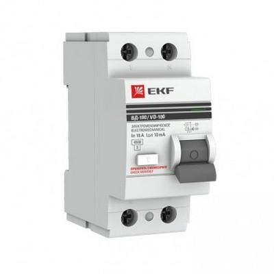 Устройство защитного отключения УЗО EKF PROxima ВД-100 2P 25А/30мА, электромеханическое