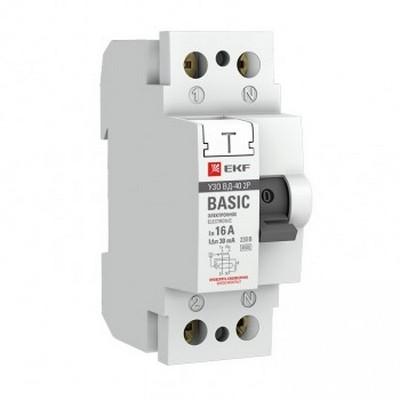 Устройство защитного отключения УЗО EKF Basic ВД-40 2P 40А/300мА, электронное