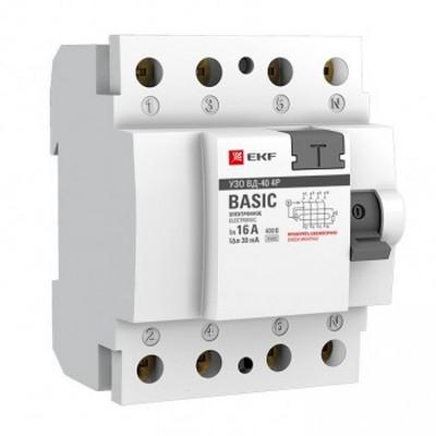 Устройство защитного отключения УЗО EKF Basic ВД-40 4P 40А/100мА, электронное