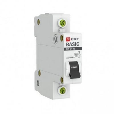 Автоматический выключатель EKF Basic ВА 47-29, 1-полюсный, 16А, характеристика C, 4,5кА