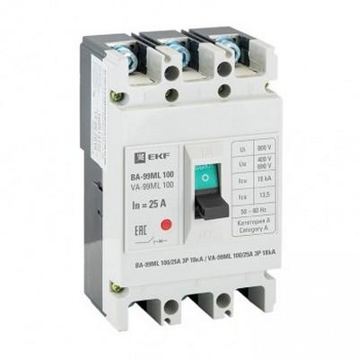 Автоматический выключатель EKF Basic ВА-99МL 100/100А 3-полюсный, 18кА