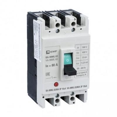 Автоматический выключатель EKF Basic ВА-99МL 63/100А 3-полюсный, 15кА